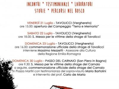 21-30 luglio 2017: commemorazione delle stragi di Tavolicci e del Carnaio