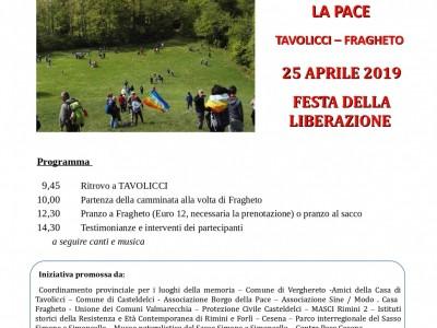 Camminata per la pace Tavolicci-Fragheto, 25 aprile 2019